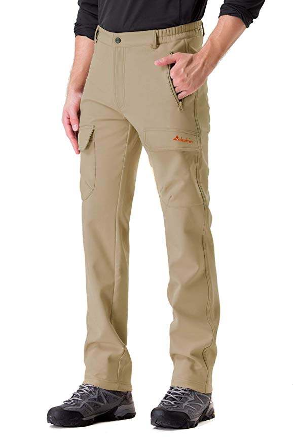 Clothin Men's Softshell Fleece-Lined Ski Cargo Pants – Warm, Breathable, Water-Wind-Resistant-Insulated