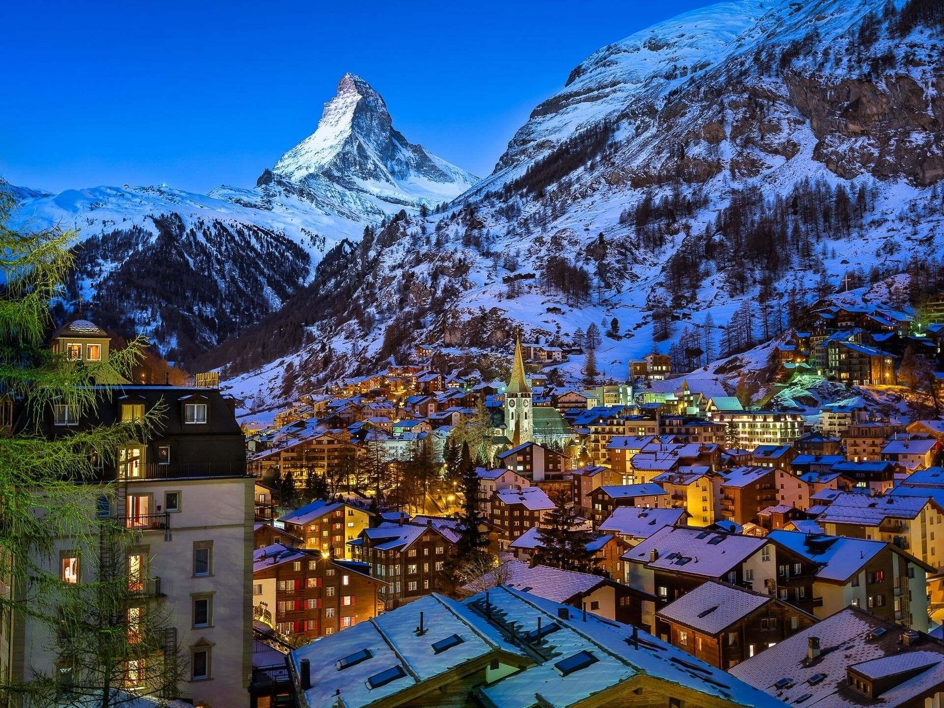 Zermatt lies at the foot of the Matterhorn.