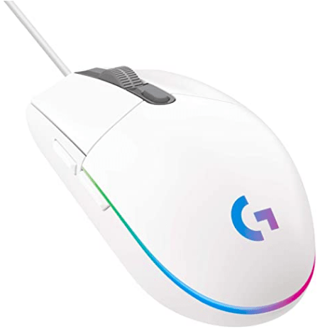 Logitech G G203 Wired Gaming Mouse, 8,000 DPI, Rainbow Optical Effect LIGHTSYNC RGB, 6 Programmable Buttons, On-Board Memory, Screen Mapping, PC-Mac Computer and Laptop Compatible - White